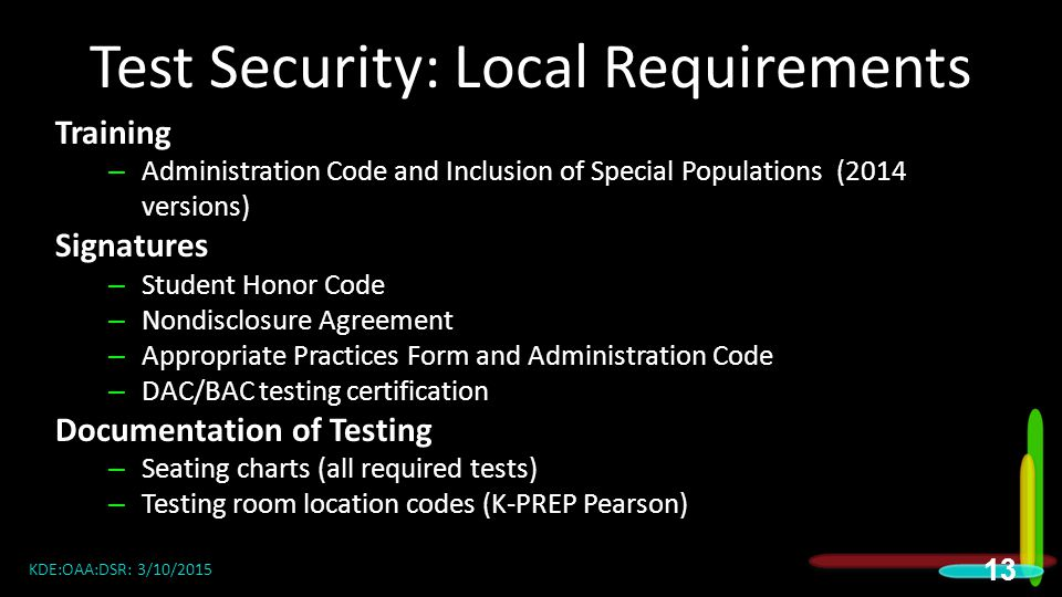 Test Security: Local Requirements