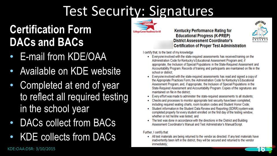 Test Security: Signatures
