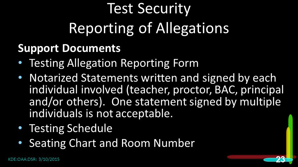 Test Security Reporting of Allegations