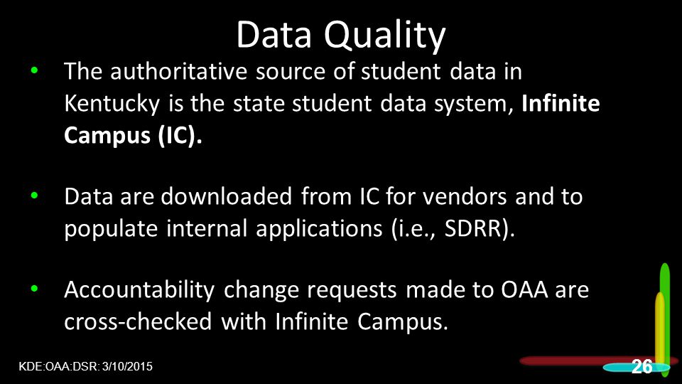Data Quality 2015 DAC Meetings. The authoritative source of student data in Kentucky is the state student data system, Infinite Campus (IC).