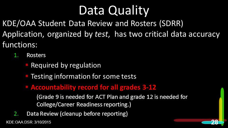 Data Quality 2015 DAC Meetings.