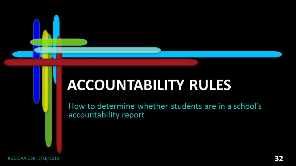 2015 DAC Meetings Accountability Rules. How to determine whether students are in a school's accountability report.