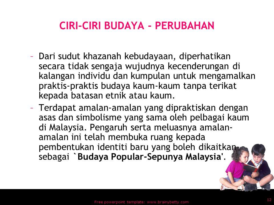 CIRI-CIRI BUDAYA - PERUBAHAN
