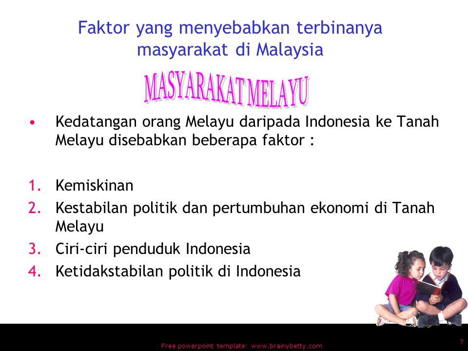 Faktor yang menyebabkan terbinanya masyarakat di Malaysia