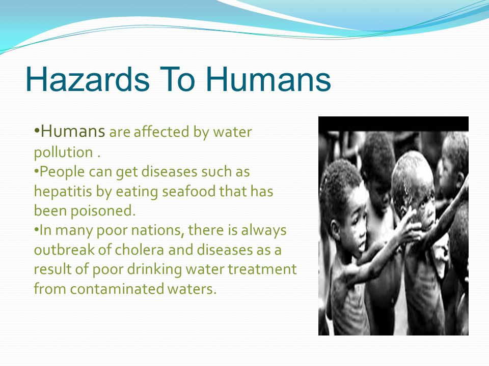 Hazards To Humans Humans are affected by water pollution .