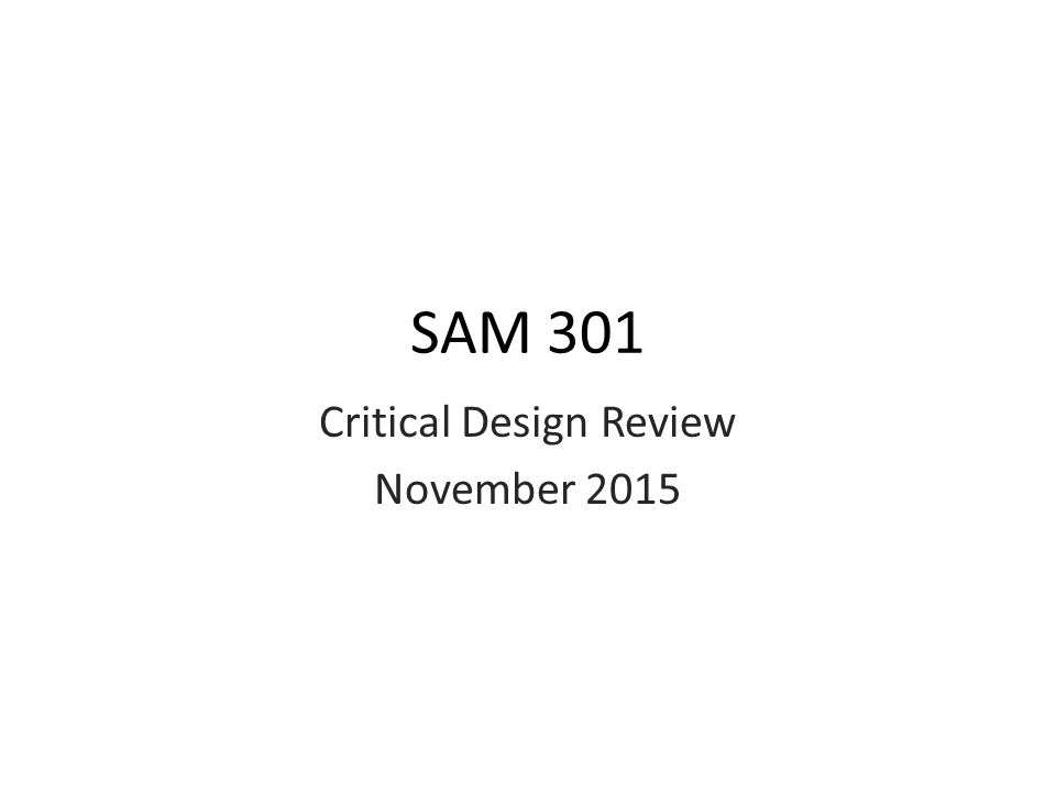 Critical Design Review November 2015