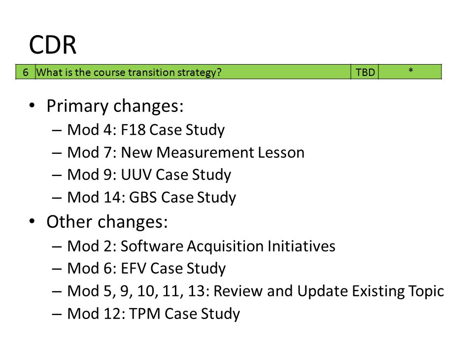 CDR Primary changes: Other changes: Mod 4: F18 Case Study