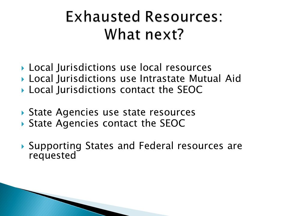 Exhausted Resources: What next