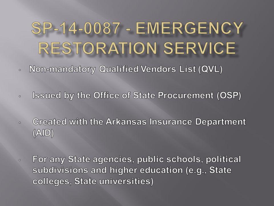 SP-14-0087 - Emergency Restoration Service