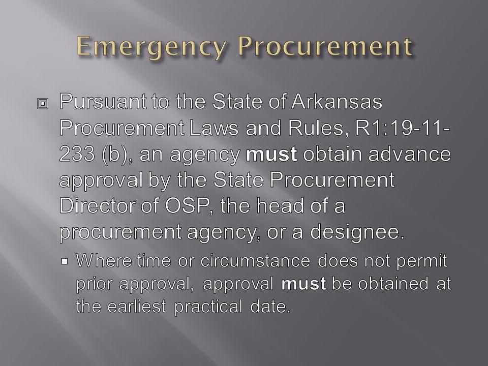 Emergency Procurement