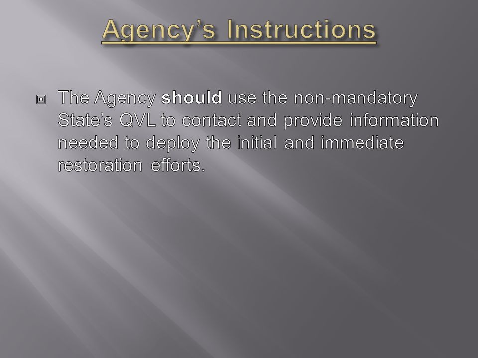Agency's Instructions