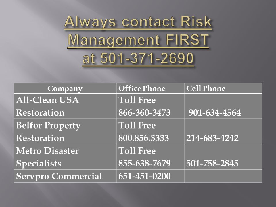 Always contact Risk Management FIRST at 501-371-2690