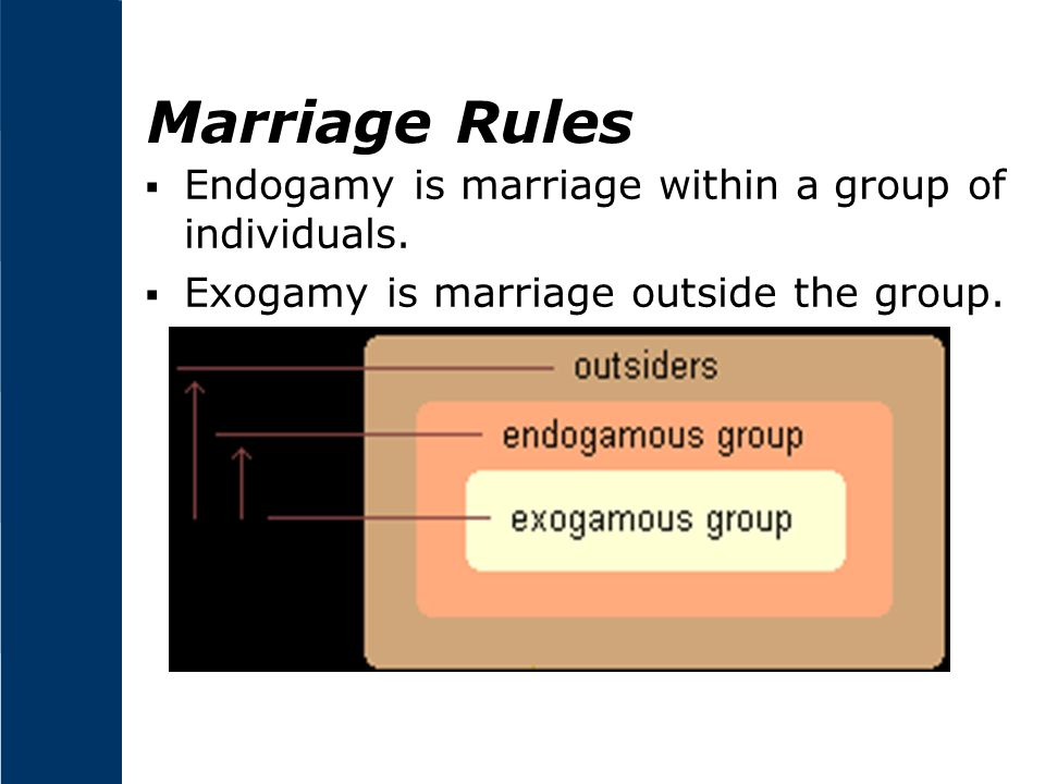 Marriage Rules Endogamy is marriage within a group of individuals.