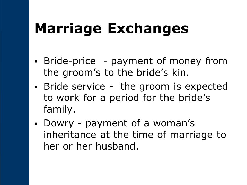 Marriage Exchanges Bride-price - payment of money from the groom's to the bride's kin.