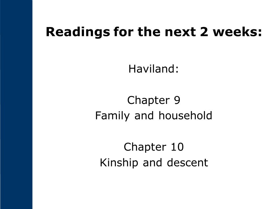 Readings for the next 2 weeks: