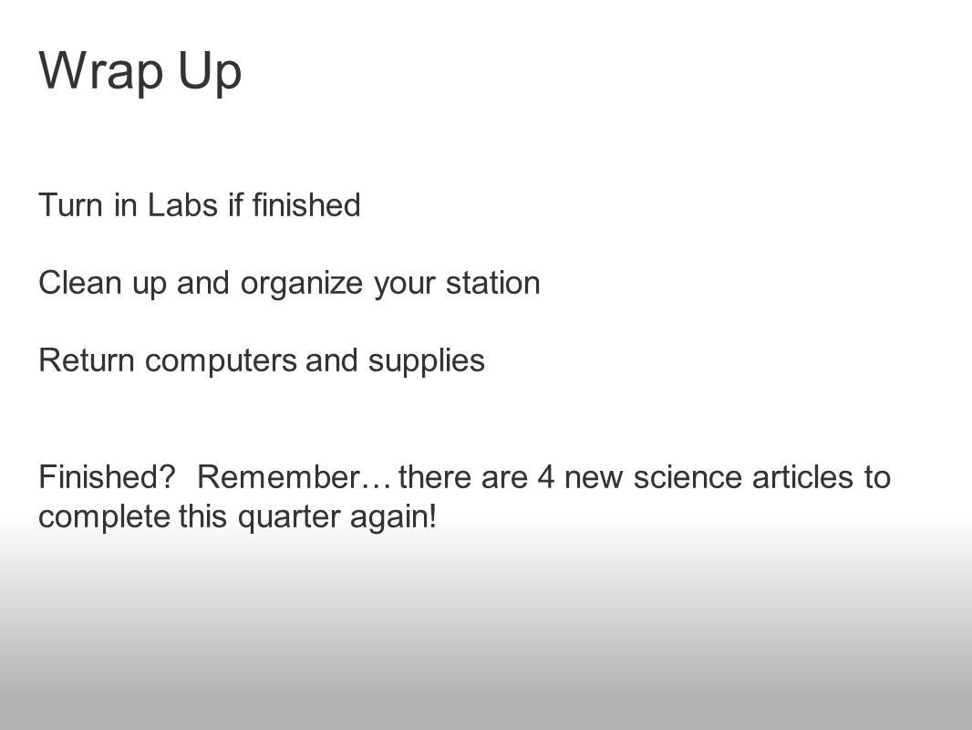 Wrap Up Turn in Labs if finished Clean up and organize your station