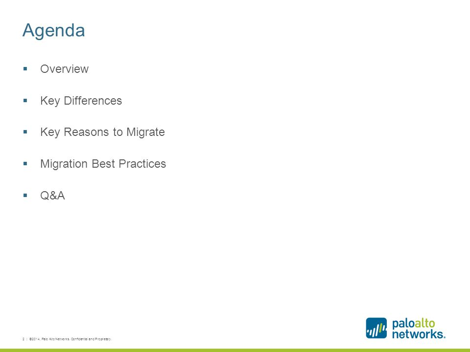Agenda Overview Key Differences Key Reasons to Migrate