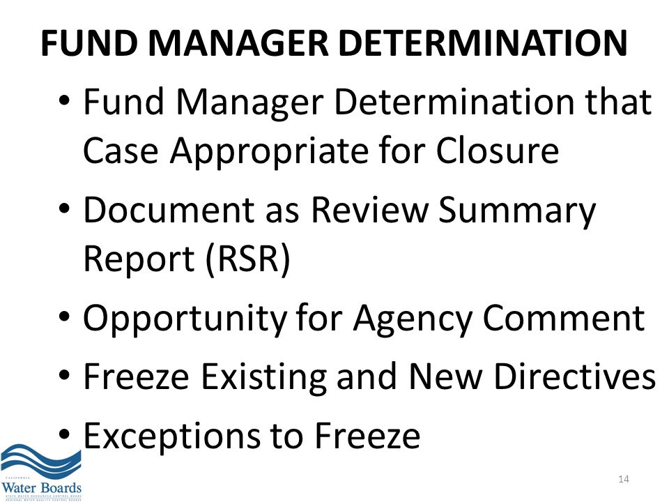 Fund Manager Determination