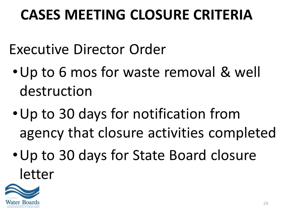 Cases meeting CLOSURE criteria