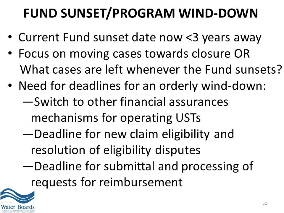 FUND SUNSET/PROGRAM WIND-DOWN