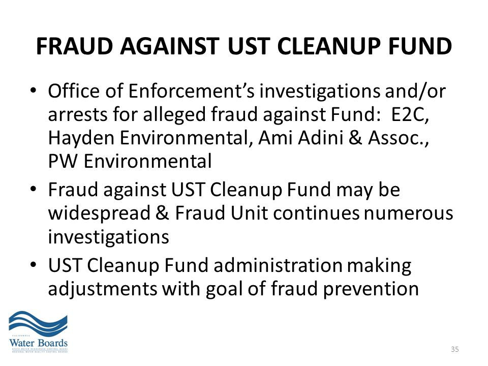 Fraud against UST Cleanup Fund