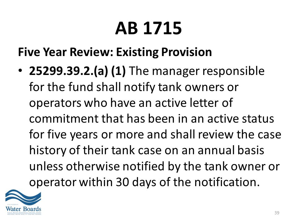 AB 1715 Five Year Review: Existing Provision