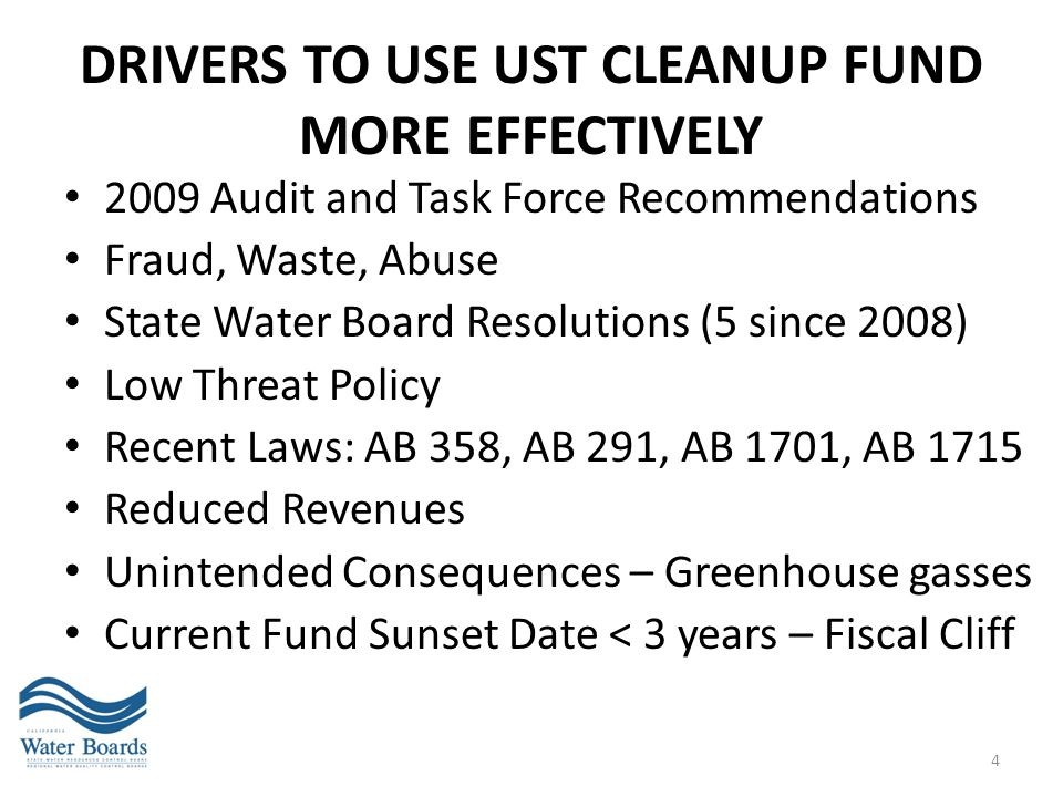 drivers to use UST Cleanup Fund more effectively