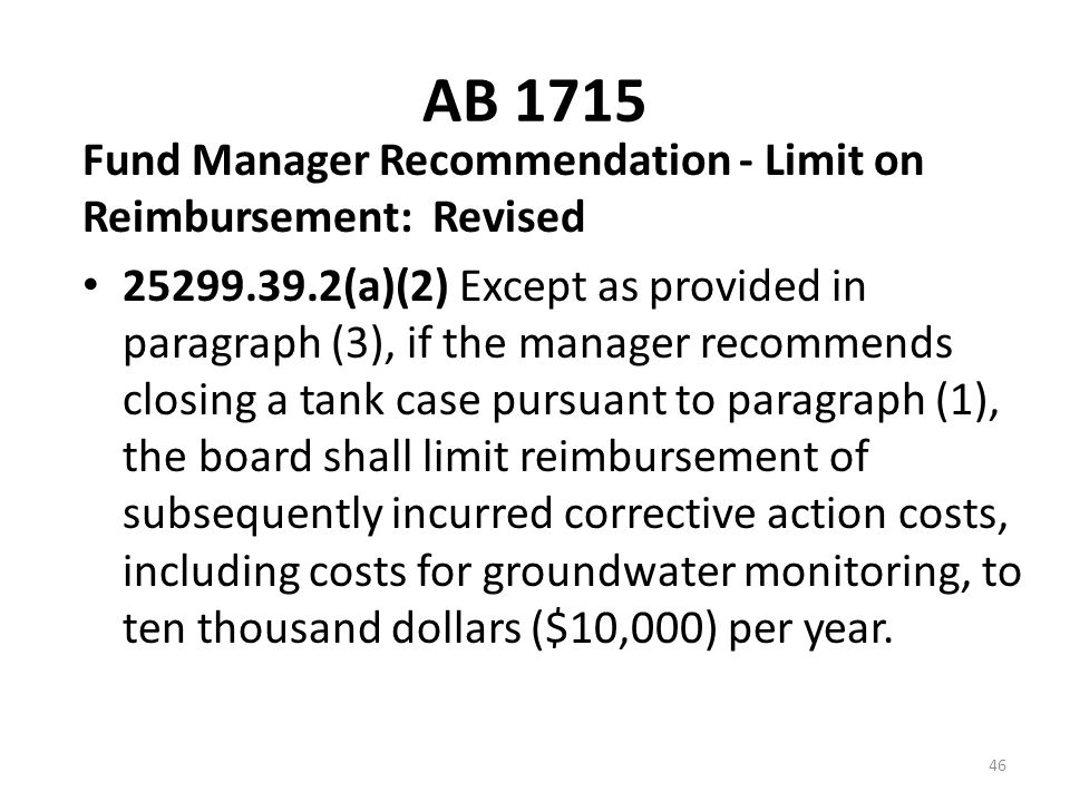 AB 1715 Fund Manager Recommendation - Limit on Reimbursement: Revised