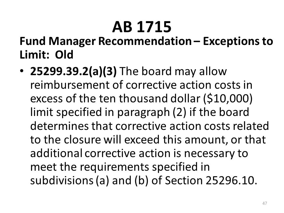AB 1715 Fund Manager Recommendation – Exceptions to Limit: Old