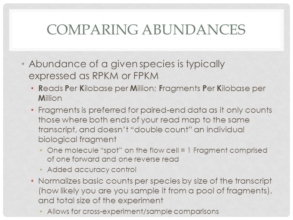 Comparing abundances Abundance of a given species is typically expressed as RPKM or FPKM.