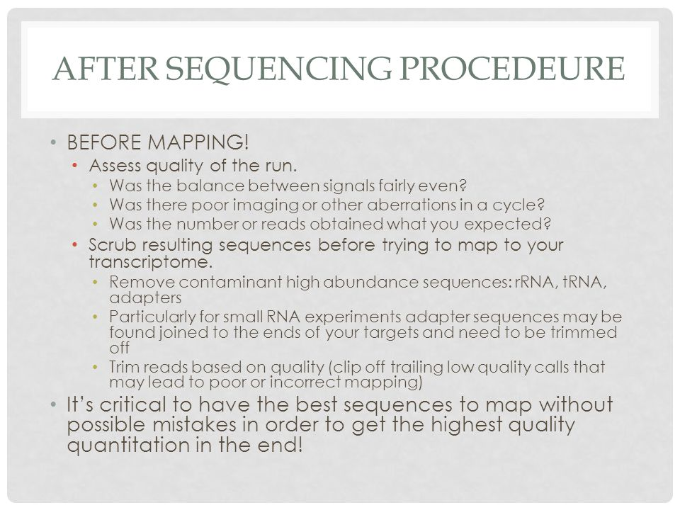 After sequencing Procedeure