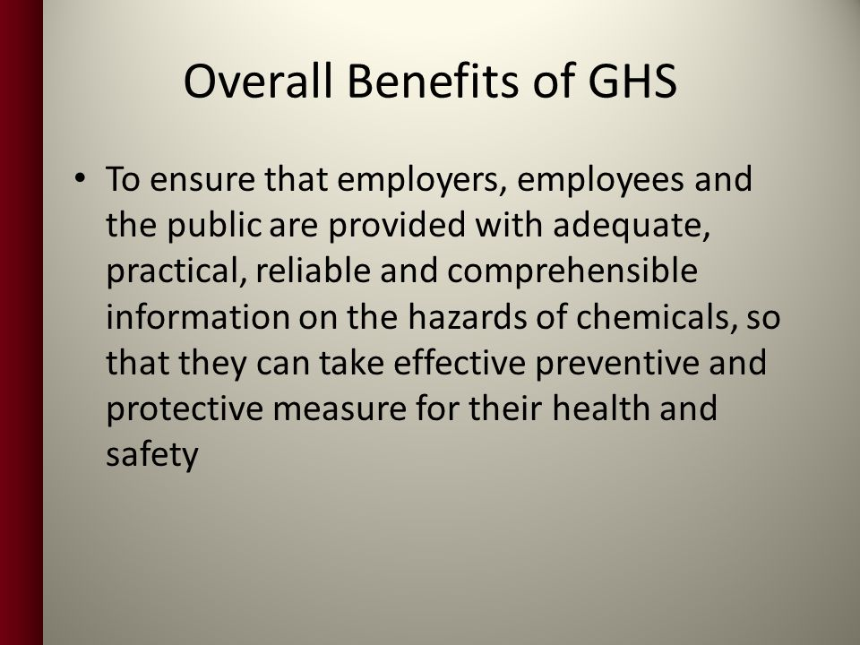 Overall Benefits of GHS