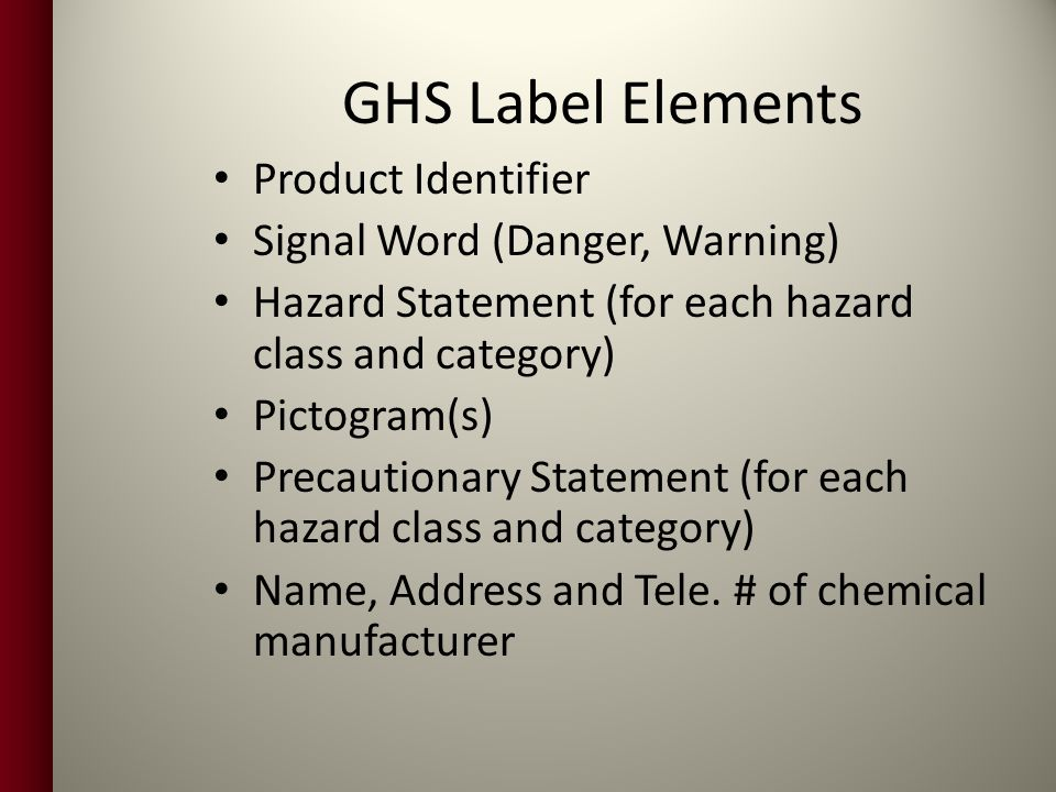 GHS Label Elements Product Identifier Signal Word (Danger, Warning)