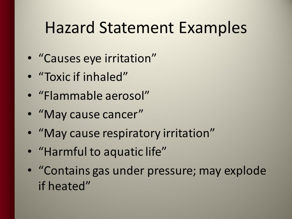 Hazard Statement Examples