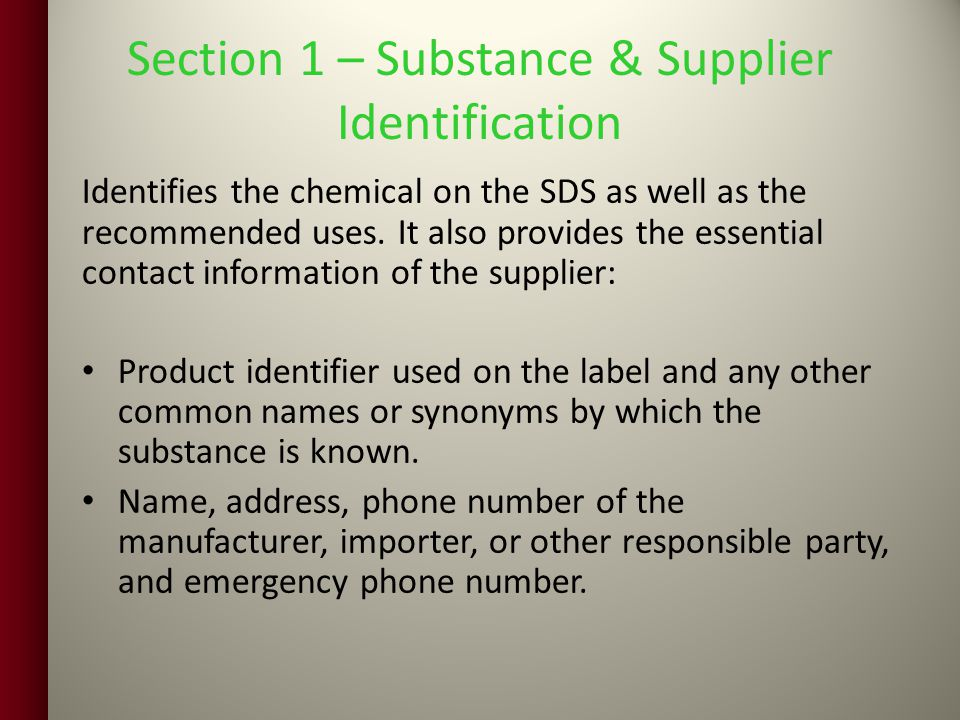 Section 1 – Substance & Supplier Identification