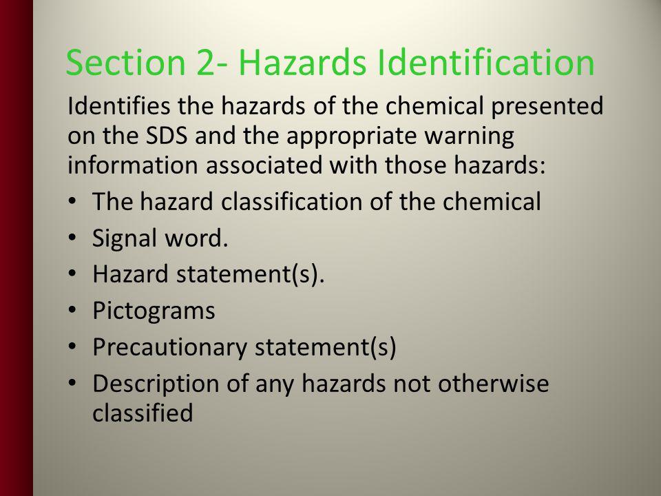 Section 2- Hazards Identification