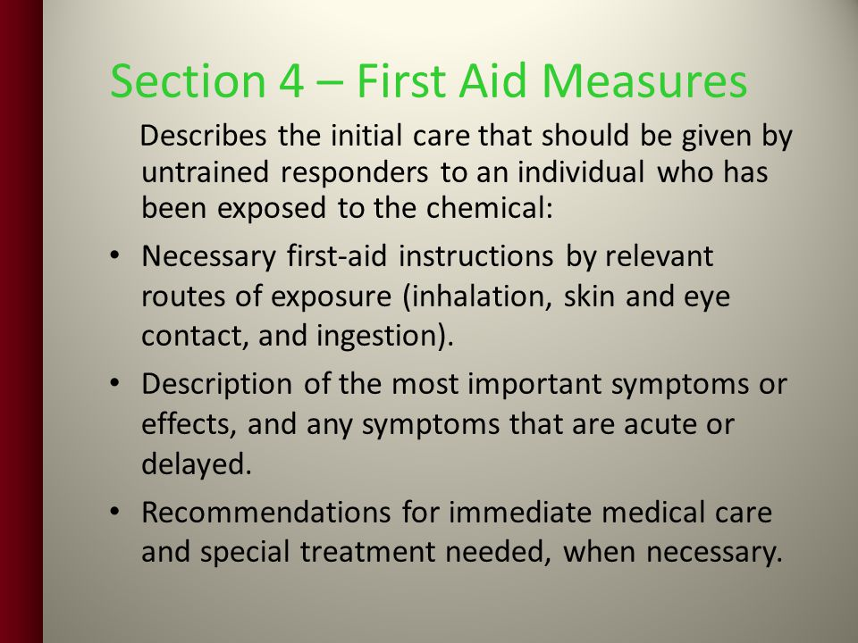 Section 4 – First Aid Measures