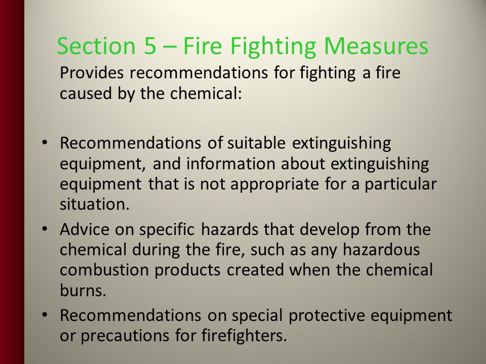 Section 5 – Fire Fighting Measures