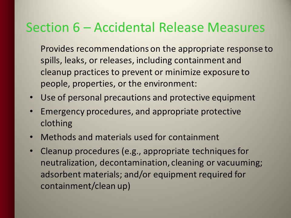 Section 6 – Accidental Release Measures