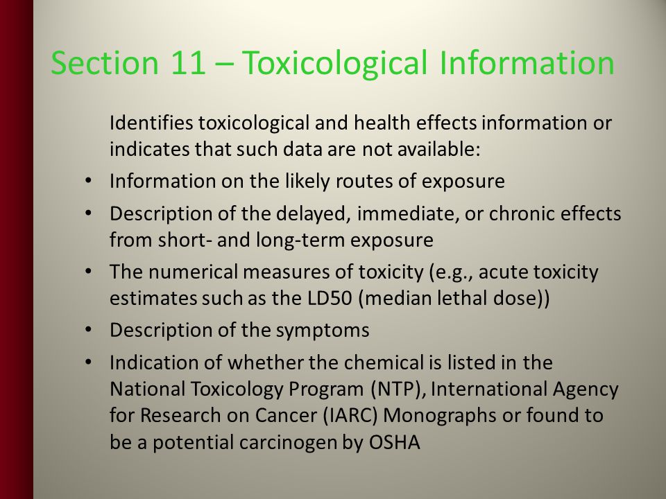 Section 11 – Toxicological Information
