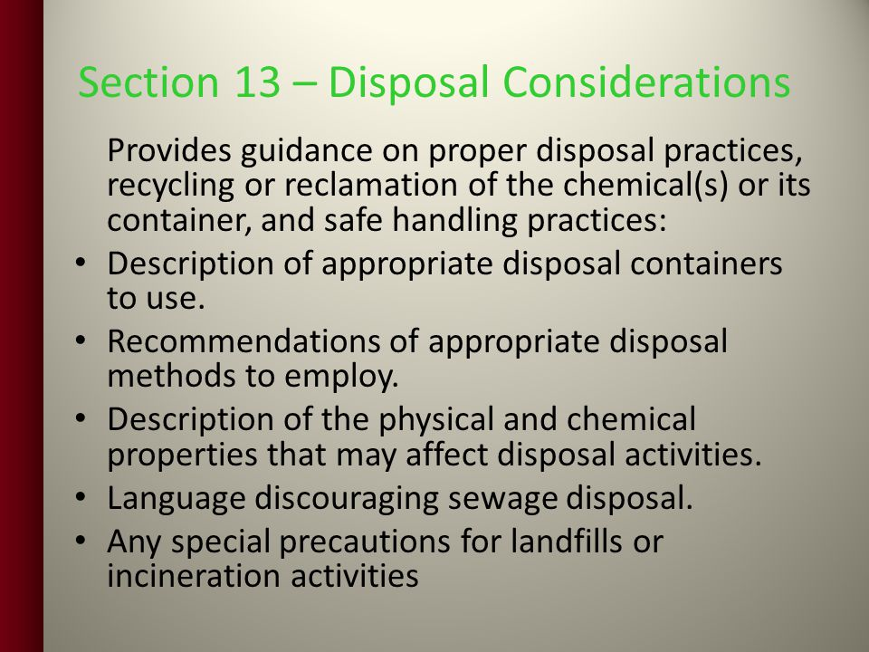 Section 13 – Disposal Considerations