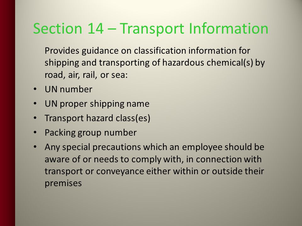 Section 14 – Transport Information