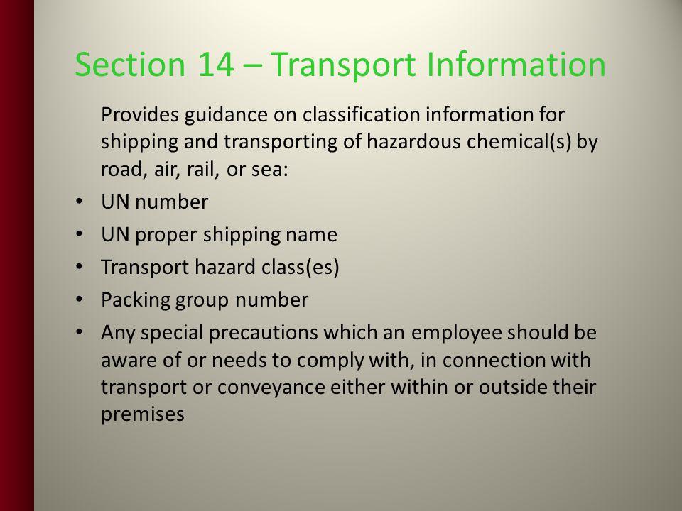 Section 14 – Transport Information