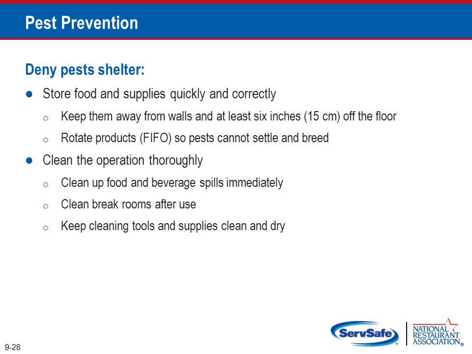 Pest Prevention Deny pests shelter: