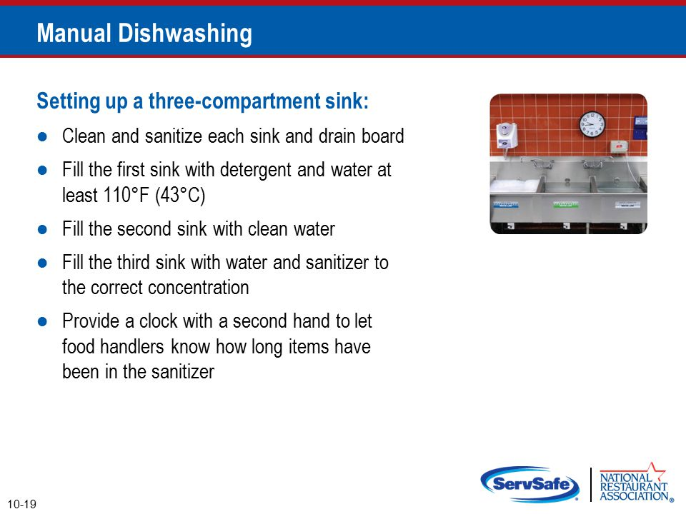 Manual Dishwashing Setting up a three-compartment sink: