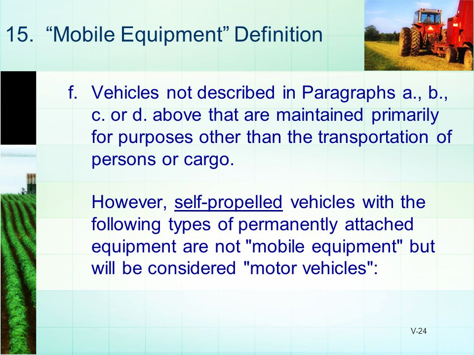 15. Mobile Equipment Definition