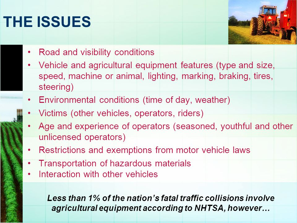 THE ISSUES Road and visibility conditions
