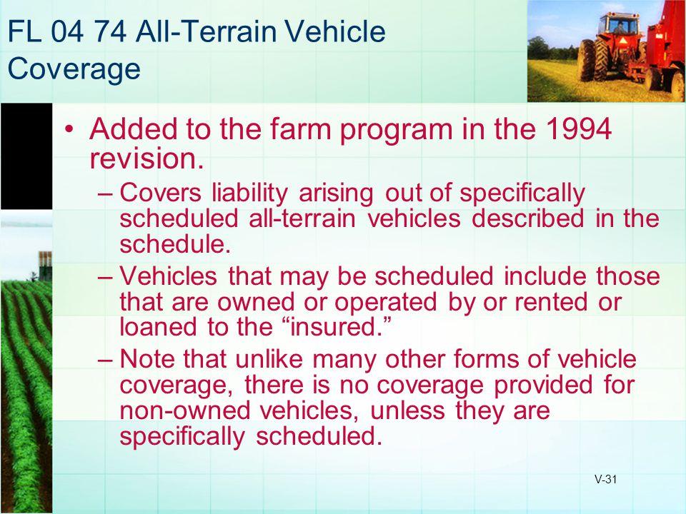 FL 04 74 All-Terrain Vehicle Coverage