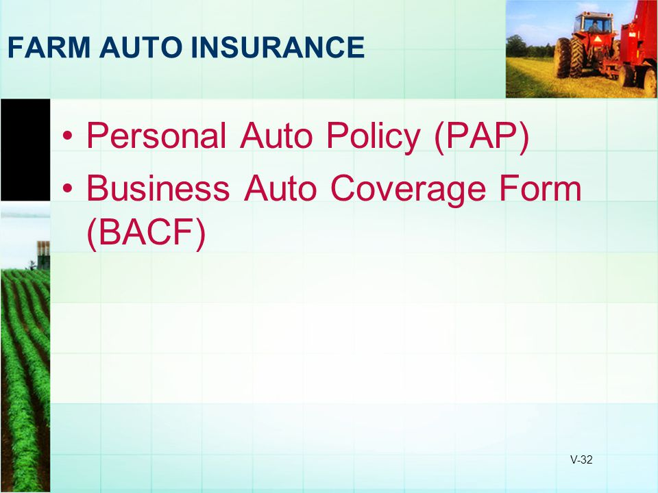 Personal Auto Policy (PAP) Business Auto Coverage Form (BACF)