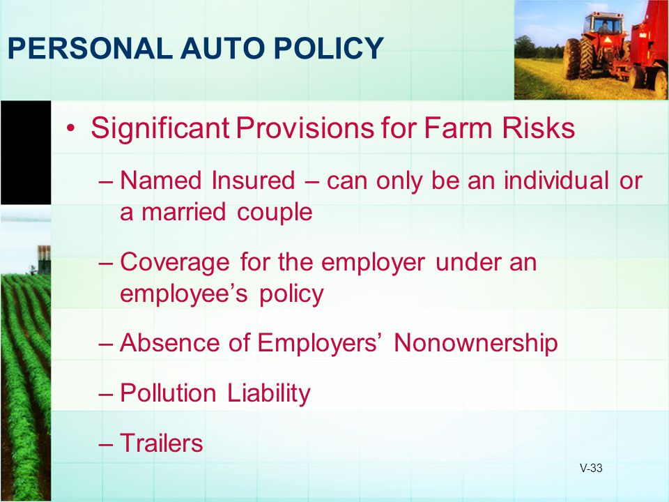Significant Provisions for Farm Risks